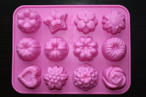 (Longzang 12-Flower Silicone Cake Chocolate Craft Candy Baking)