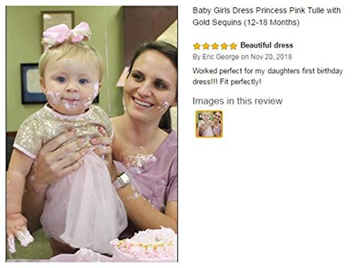 BBVESTIDO Baby Girls Christening Baptism Party Formal Dress Pink with Sequins for Newborn-24months