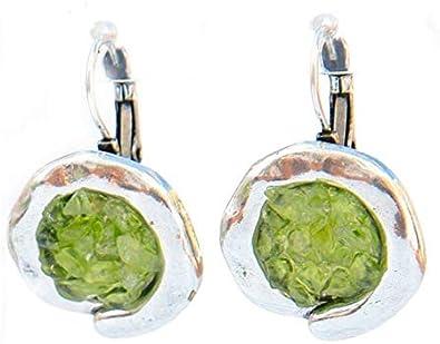 Pendientes olivina (peridoto) de origen volcánico de 2,5 cm diámetro, de zamak rodiado,ibre de plomo y níquel, diseñado y hecho en España: Amazon.es: Joyería