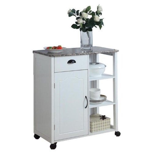 Inroom Designs 25147 White Kitchen Island Storage Cart On Wheels With Granite Look Top Portable
