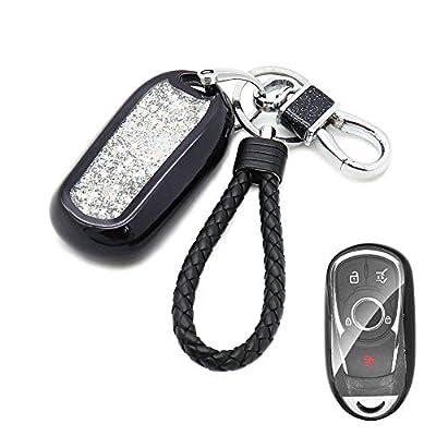 Senauto Quicksand Full Cover Key Fob Cover Case Key Chain for 2020 2020 2020 Buick Encore Envision Lacrosse Regal Enclave (Black): Automotive