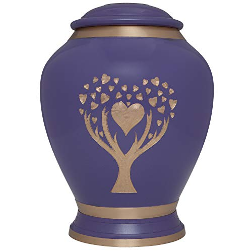 Purple Cremation Urn with Tree of Life by Liliane Memorials - Urns for Human Ashes Remains - Brass - Suitable for Funeral Cemetery Burial or Niche - Large Size for ()
