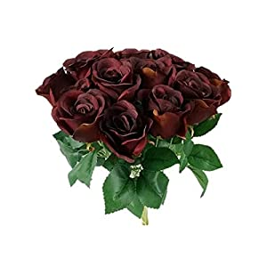 Sweet Home Deco 16'' Silk Rose Artificial Flower Bouquet (12 Stems/12 Flowers) Wedding Home Decorations (Burgundy) 1