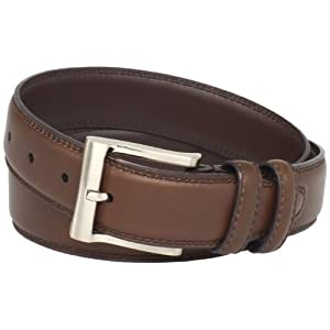 Florsheim Men's Full Grain Luxury Leather Dress Belt with Stitched Edge, Cognac, 44