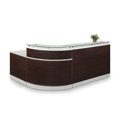 Esquire Glass Top Reception Desk 79''W x 63''D Mahogany Laminate/Silver Laminate Desktop Kickplate and Accents/Glass Top by NBF Signature Series