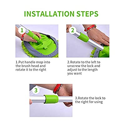 GES 2 in 1 Car Wash Mop Mitt with Long Handle, Chenille Microfiber Car Wash Brush Extension Pole 24-46In, Scratch Cleaning Tool for Car, Truck, RV, Total 2Pcs Mop Head and 1Pcs Car Cleaning Towels: Automotive