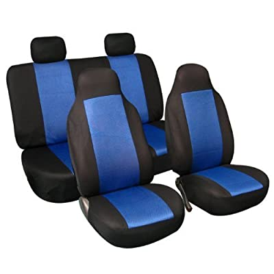FH Group FB102BLUE114 Blue 3D Air Mesh Auto Seat Cover (Full Set): Automotive