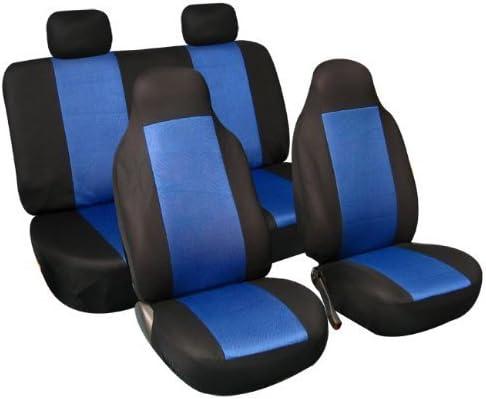 Other 9 PCS BLUE BLACK FULL CAR SEAT COVERS UNIVERSAL SET FABRIC PROTECTORS FOR CAR VAN TAXI