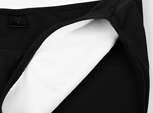 Aixy Mujer Vintage Color Sólido Ruched Tankini Top Bikinis con Triángulo Briefs Bottom Negro