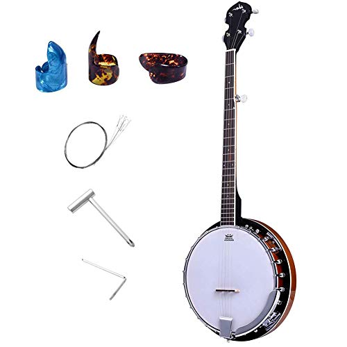 - ADM 5-String Banjo 24 Bracket with Closed Solid Wood Back, Banjo Beginner Kit with Picks and Extra Strings