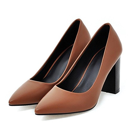 Pumps Pointed High Slip Block Office On Elegant TAOFFEN Women Brown Toe Heel Shoes ZvI1wwq