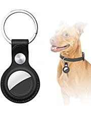 AICase Case for Apple AirTag Case Keychain,Leather Protective Case Secure Holder with Key Ring Black