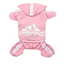 Adidog Dog Hoodies,Rdc Pet Clothes,Fleece Basic Hoodie Warm Sweater,4 Legs Cotton Jacket Sweat shirt Coat for Small Dog Medium Dog Cat (XS, Pink)