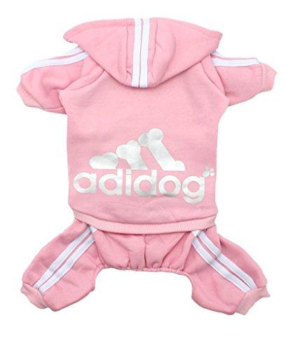 Adidog Dog Hoodies,Rdc Pet Clothes,Fleece Basic Hoodie Warm Sweater,4 Legs Cotton Jacket Sweat shirt Coat for Small Dog Medium Dog Cat (XXL, Pink)