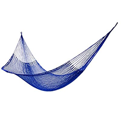 NOVICA Nylon Blue Rope Hammock 'Blue Sonata' (Single) - Size: 3.9 ft. W x 13.1' H Authentic: an original NOVICA fair trade product in association with National Geographic. Certified: comes with an official NOVICA Story Card certifying quality & authenticity. - patio-furniture, patio, hammocks - 41 8lIrTneL. SS400  -