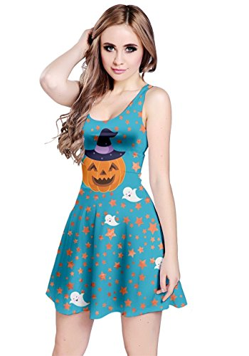 CowCow Womens Blue Pumpkin Sleeveless Dress, Blue - S