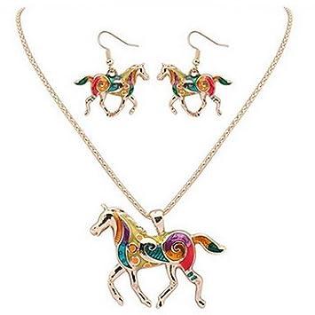 GYJUN Pferd Halskette Ohrringe Schmuck-Set