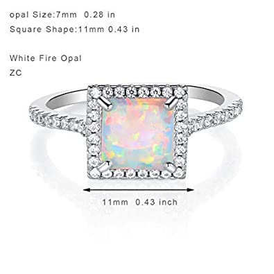 OPALBEST 18K White Gold Plated Cocktail Ring Fire Opal Ring for Women Men Promise Engagement Band Gift Size 5-10
