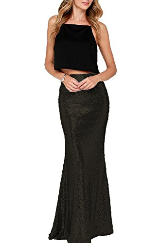 Honey Qiao Mermaid Sequins Wedding Party Skirts Maxi Black Holiday Formal Skirt