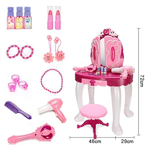 sogoog Girls Make Up Dressing Table, Glamorous Princess Dressing Table with Stool, Mirror, Hair Dryer, Make-Up Table Toy Play Set by sogoog (Image #2)