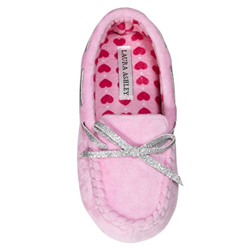 Moccasin Kids Pink - Laura Ashley Kids Girls Fleece Glitter and Bow Moccasins Pink 2/3