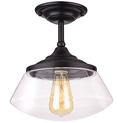 "Revel Summit 10"" Industrial Semi Flush Mount Ceiling Light + Schoolhouse Glass Shade, Matte Black Finish"