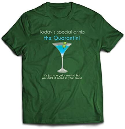 lepni.me Maglietta da Uomo Quarantini Social Distancing Drink Martini in Quarantine