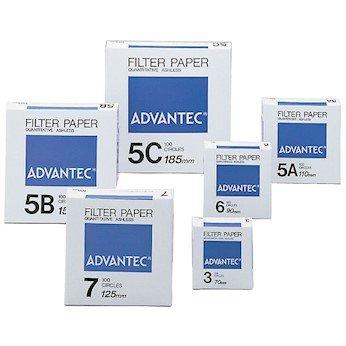 6 Ashless Quantitative Filter Paper; 7.0 cm Dia; Pack of 100 Advantec N067.0CM Grade No