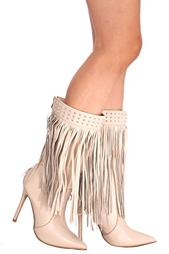 LOLLI COUTURE POINTED TOE STUD BACK ZIPPER FRINGE KNEE HIGH HEEL BOOT 9 nude Fringe High Heel