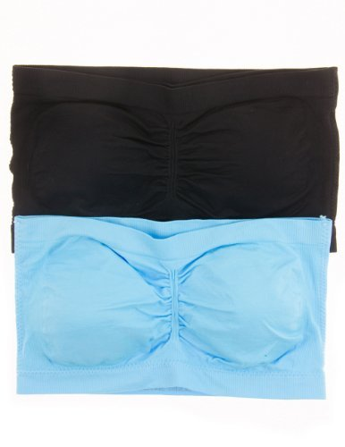 Anenome Women's Strapless Seamless Bandeau Padding (2 or 4 pack),One Size,2 Pack: Black/Aqua