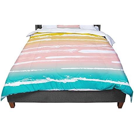 KESS InHouse Anneline Sophia Painted Stripes Peach Pink Teal Twin Comforter 68 X 88
