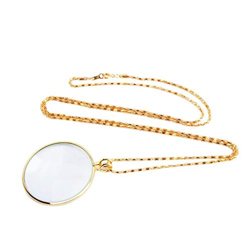(Monocle Necklace with 5X Magnifier Magnifying Glass Pendant Gold Silver Plated Chain Necklace for Women Jewelry)