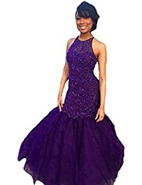 Womens Mermaid Prom Dress Long Beading Evening Gown