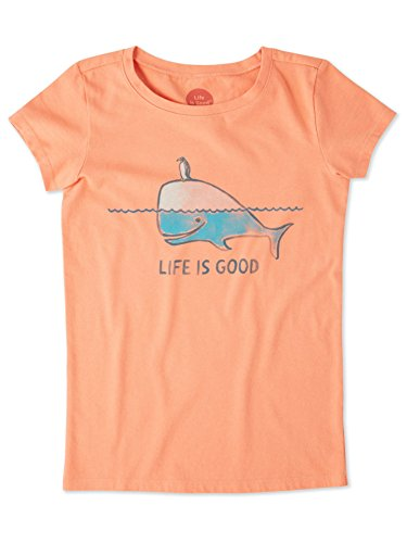 (Life is Good Girls Crusher Graphic T-Shirts Collection,Whale,Fresh Coral,Large)