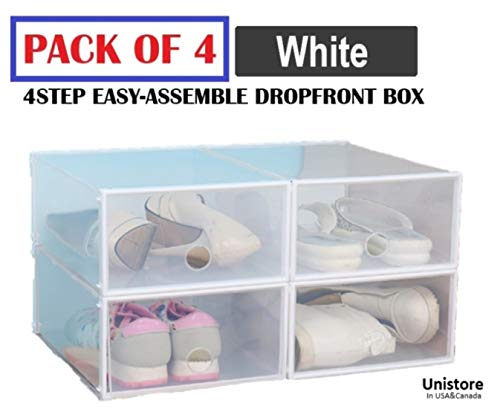 """Unistore [All New 2019 Edition] SB21 Stackable Dropfront Easy Assemble Clear Plastic Storage/Shoe Box. Easy DIY Storage Solution for Clean Organization.[4 Packs] 13""""x10""""x5"""", 654 Cubic inches-(White)"""