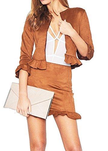 Re Tech UK - Traje con falda - para mujer Marrón Tan Camel 34 ...