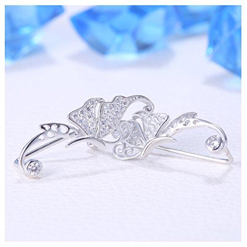 sewanz élégante pour femme en argent sterling 925boucles d'oreilles, manchette Cristal Papillon designear Clips