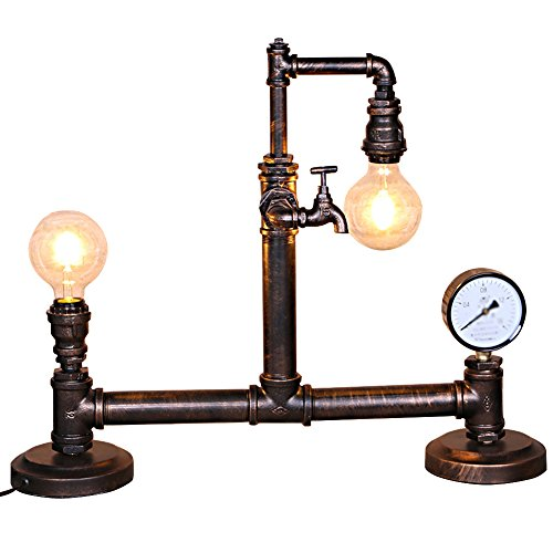 Water Pipe Desk Lamp, Motent Industrial Retro Rust Iron Water Pipe Table Light Antique Steampunk Double Head Desk Accent Lamp with Clock for Living Room Watch Shop Pub - Type D / 26.3 inches Length