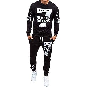 Elogoog 2018 Men's Fashion Crewneck Sweatshirt Shirts +Pants Sets Letter Hipster Mens Printed Tracksuit