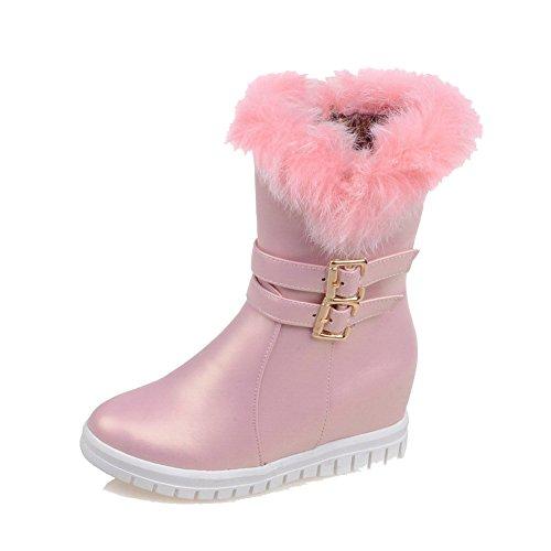 AllhqFashion Damen Reißverschluss Mittler Absatz Rein Metallisch Niedrig-Spitze Stiefel Pink