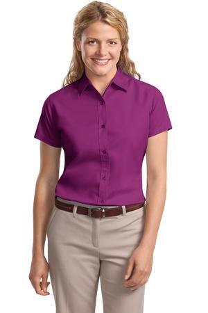 Port Authority Women's Ladies Short Sleeve Easy L Deep Berry