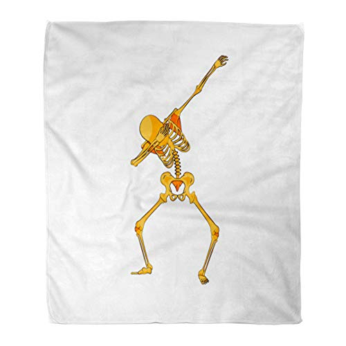 Emvency Throw Blanket Warm Cozy Print Flannel Stock Orange Yellow Skeleton Character Dancing Dab Step Hip Hop Pose Meme Comfortable Soft for Bed Sofa and Couch 50x60 Inches -