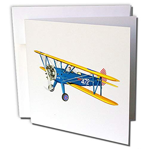 3dRose Blue and Yellow Military Training Biplane - Greeting Cards, 6
