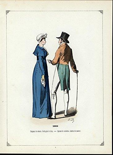 Print Coat Velvet (Velvet Hat Cloth Coat ca. 1860 beautiful antique hand color ethnic costume print)
