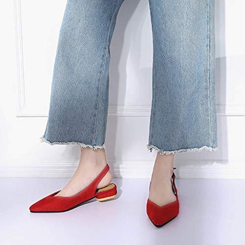 Slingbacks Pointu Pantoufles Bout Simples Pied Un Rouge Chaussures Confortable Boucle Adeshop Unie Mode Féminine Chic Les Couleur Paresseux Unique Sandales Travail Loisirs xqZZ8Y4Bw