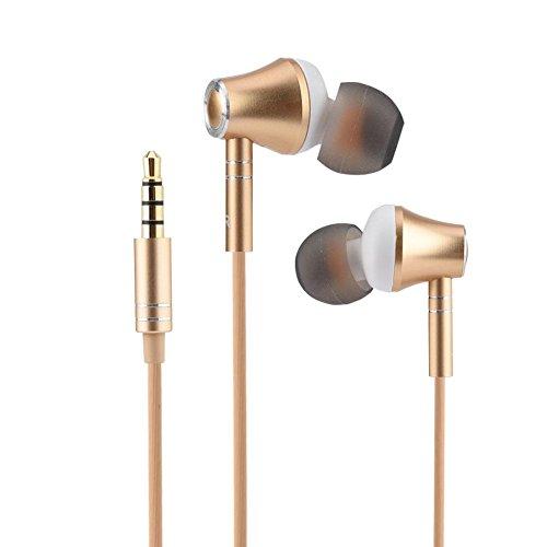 VBESTLIFE 3.5mm有線インイヤーワイヤーヘッドフォン 軽量メタル製 3Dサラウンドサウンドなデザイン・スタイリッシュ 遮音性 超耐久性 高音質・音楽イヤホン(ゴールド)