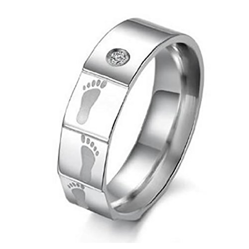 KONOV Mens Womens Stainless Steel CZ Ring, 5mm Love Promise Couples Wedding Band, Size 8