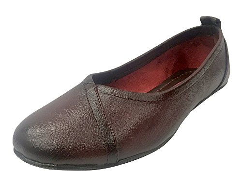 Step n Style Women's Genuine Leather Ballet Flat Slip-On Loafer Casual Shoes Mojari Jutti