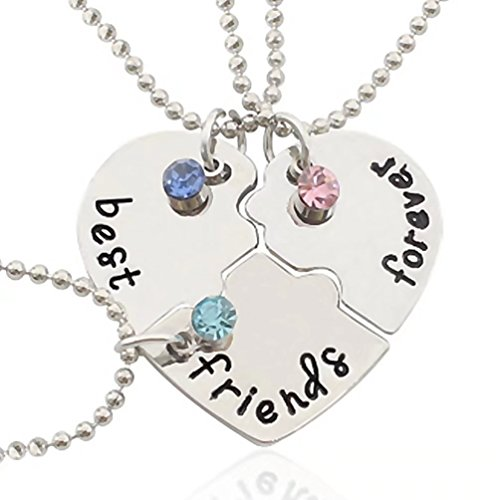 KingFurt Silver Tone Alloy Rhinestone Best Friends Forever Necklace Engraved Puzzle Friendship Pendant Necklaces Set Christmas Gift for friends