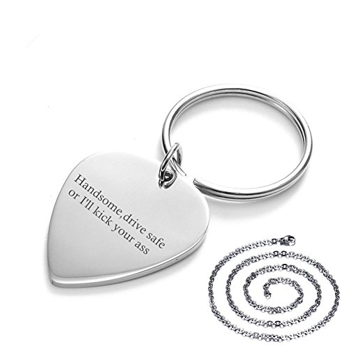 Sunling Personalized Funny I'll Kick Your Ass Stainless Steel Lucky Lord's Prayer Engraved Guitar Pick Drive Safe Key Chain Necklace Pendant Set Gift for Handsome Husband,Hubby,Boyfriend